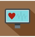 Heartbeat monitoring icon flat style vector image vector image