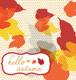 hello autumn square with dot pattern vector image vector image