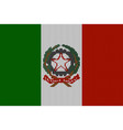 knitted italian flag and coat of arms vector image