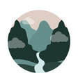 landscape nature mountains and river valley flat vector image vector image