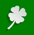 leaf clover sign paper whitish icon with vector image vector image