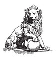 lion statue is found in front of the palace of vector image vector image