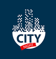 logo glowing night city vector image