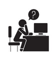 man thinking in office black concept icon vector image