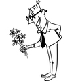 Man with bouquet vector image