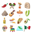 Mexico icons cartoon vector image vector image