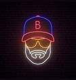 neon avatar man with baseball cap wearing vector image vector image