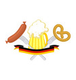 oktoberfest symbol of beer sausage and pretzel vector image