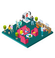 open art space isometric concept vector image vector image