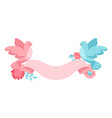 pink and blue dove holding ribbon with flowers vector image
