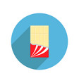 round white chocolate bar icon shadow opened red vector image vector image