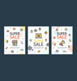 sale flyer banner posters card or placard set vector image