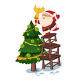 santa claus decorates christmas tree vector image vector image