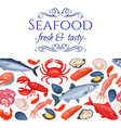 seamless border seafood products vector image