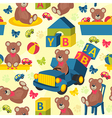 seamless pattern teddy bear vector image