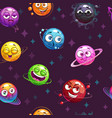 seamless pattern with funny planets on space vector image vector image