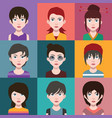 set people avatars with backgrounds vector image