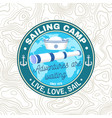 set summer sailing camp badge concept vector image