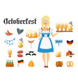 smiling bavarian woman blonde dressed in vector image vector image