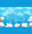 spring background with beautiful magnolia flowers vector image vector image