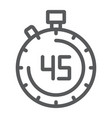 stopwatch line icon countdown and time timer vector image vector image