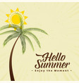 summer background with palm tree and sun vector image vector image