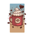 sweet coffee in retro style mug hand drawn vector image vector image