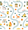 town map pattern seamless cute urban landscape vector image vector image