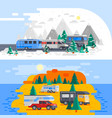 two recreational vehicles composition vector image vector image