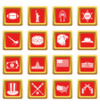usa icons set red vector image vector image