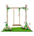 wooden swing in the garden vector image