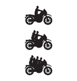 Black silhouettes of people on a motorbike vector image