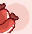 delicious sausages cartoons close up vector image