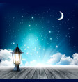 night sky background with crescent moon and vector image