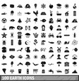 100 earth icons set simple style vector image vector image