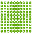 100 kids activity icons hexagon green vector image vector image