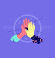 african american and asian hands give high five vector image vector image