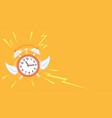 alarm clock with wings flies away vector image