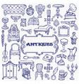 antiques doodle set vector image vector image