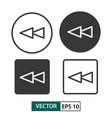 backward button icon set isolated on white eps 10 vector image