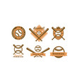 baseball logo set retro emblem for baseball club vector image vector image