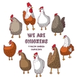 Birds chicken group isolate objects crazy vector image