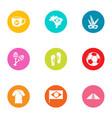brasilia icons set flat style vector image