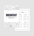 breakfast traditional menu template morning food vector image vector image