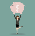 Business woman lifting a piggy bank vector image
