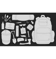 Camping items set Chalk vector image vector image