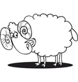 cartoon of happy ram for coloring book vector image vector image