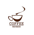 coffee cup brown label of coffeeshop or cafe menu vector image