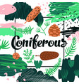 coniferous forest hand drawn design childish vector image
