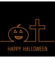 Contour pumpkin and cross Happy Halloween card vector image vector image
